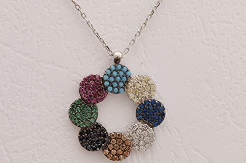 - Fashion Design! Turkish Handmade Jewelry Round Cut Turquoise Pink Ruby Emerald Black Onyx Sapphire Citrine White Topaz 925 Sterling Silver Rhodium Necklace