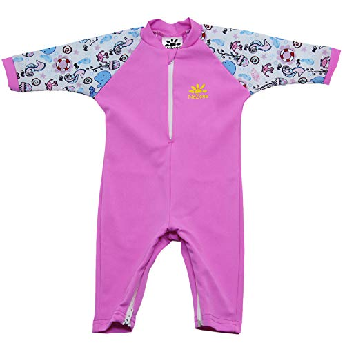 - Nozone Fiji Sun Protective Baby Girl Swimsuit Fun Prints in Bahama/Pink Sea, 24-36 Months