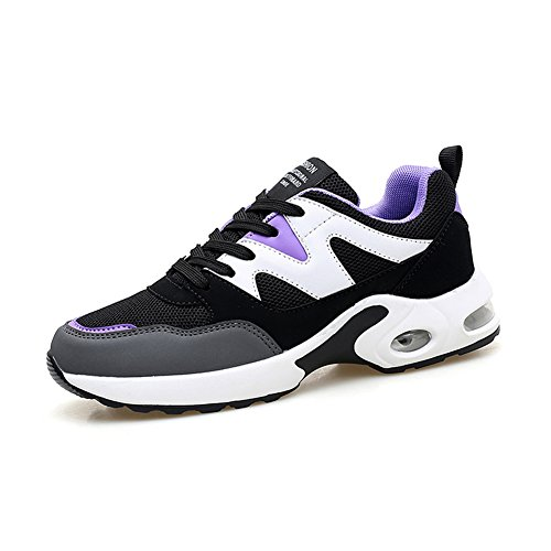 Zapatos de Mujer de Tul Transpirable Primavera Otoño Comfort Sneakers Air Cushion Zapatos de Deporte al Aire Libre para Correr Zapatos Black Rose, Violeta Negro, Negro Azul Un