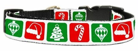 Mirage Pet Products 25-23 MD Timeless Christmas Nylon Ribbon Dog Collar, Medium