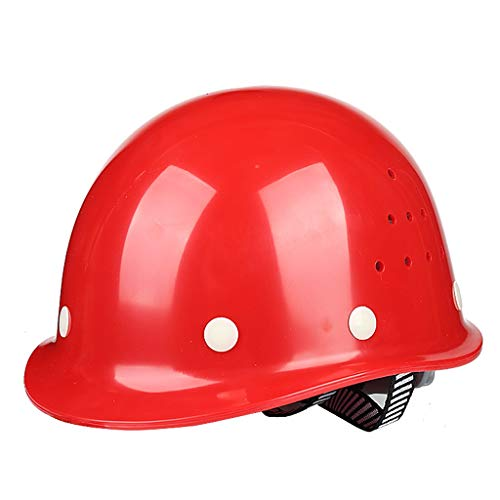 (JQJXAQM High-strength FRP Helmet Construction Site Construction Construction Safety Ventilation Helmet Labor Insurance Male National Standard (Color : Red))