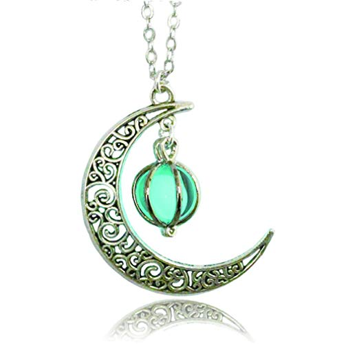 (Glowing Moon Necklace Alloy Jewelry Blue Green Color 18)