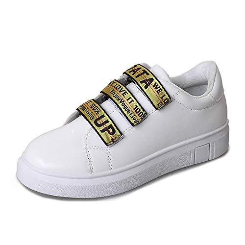 Tacco Comfort Punta PU piatto Sneakers donna Scarpe da tonda Slogan Oro Nero Gold Estate ZHZNVX poliuretano qvY81t