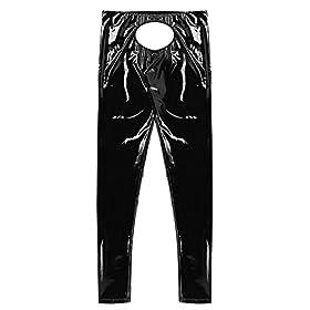 - 41k2w1XLXHL - Agoky Men's Lingerie Wet Look Patent PVC Leather Open Bulge Pouch CrothlessTight Pants Leggings Trousers