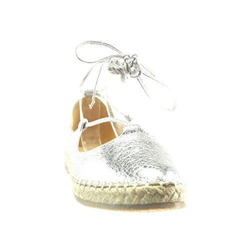 Angkorly - Zapatillas de Moda Sandalias alpargatas mujer brillantes encaje cuerda Talón Tacón ancho 2 CM - Plata