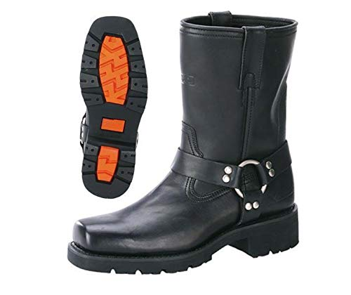 Xelement 1436 Men's Black Short Harness Motorcycle Boots with Lug Sole - 9.5