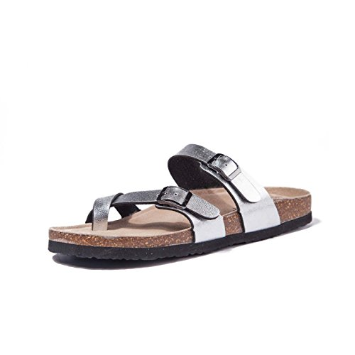 TF STAR Adjustable Flat Leather Casual Silver Sandals for Women & Ladies, Youth Suede Slide Cork Footbed for (Youth Silver Leather Footwear)