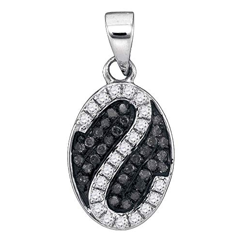 Pendant Oval Setting Cluster - Dazzlingrock Collection 10kt White Gold Womens Round Black Color Enhanced Diamond Oval Stripe Cluster Pendant 1/4 Cttw