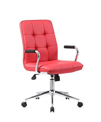 (Boss Office Products Modern Office Chair with Chrome Arms, Traditional, Red )