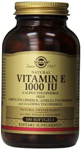 Solgar vitamine E 1000 UI mixte D-alpha-tocophérol et mixte tocophérols gélules, 100 comte