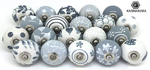 Karmakara Set of 25 Gray &White Hand pained Ceramic pumpkinn knobs Cabinet drwaer Handles pulls