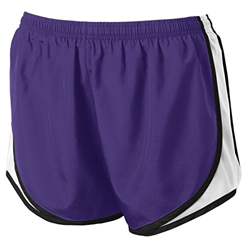 (Clothe Co. Ladies Moisture Wicking Sport Running Shorts, Purple/White/Black, XL)