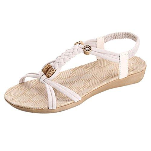 Jamicy Women Girls Summer Bandage Bohemia Peep-Toe Casual Flat Sandals White