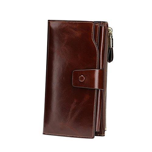 Itslife Women's RFID Blocking Large Capacity Luxury Waxed Genuine Leather Clutch Wallet Organizer Ladies Card Holder