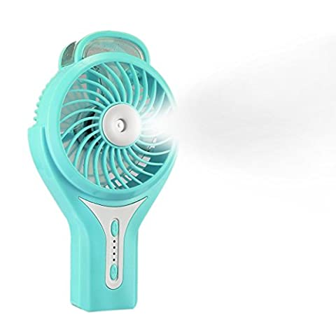BearsFire Portable Handheld USB Mini Misting Fan with Personal Cooling Mist Humidifier Fan Rechargeable Battery for Home Office and Travel - Blue Little Fan