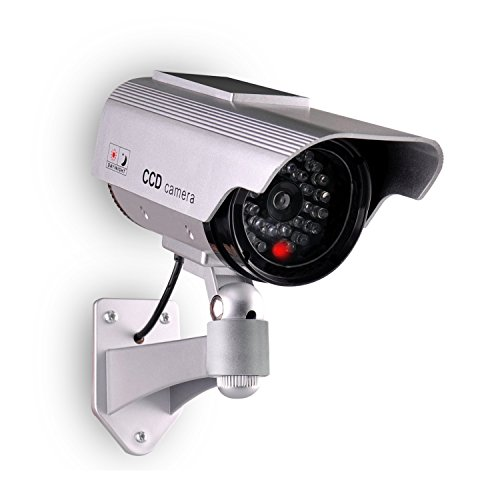 Relee Bullet Dummy Fake Surveillance Camera Security CCTV Dome Camera Outdoor with Solar Panel and Battery (Lights Solar Dome)