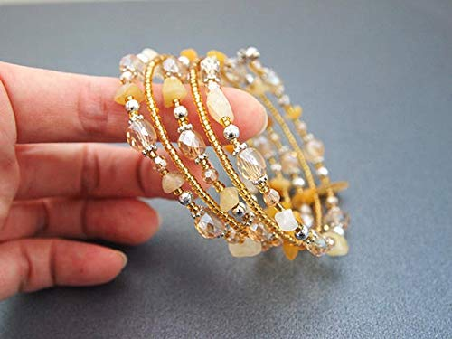 Handmade Cuff Bracelet Wrapped Bracelet Multi-strand Bracelet Stacked Bracelet Memory Wired Bracelet Citrine Crystal Cuff Bracelet Bengal