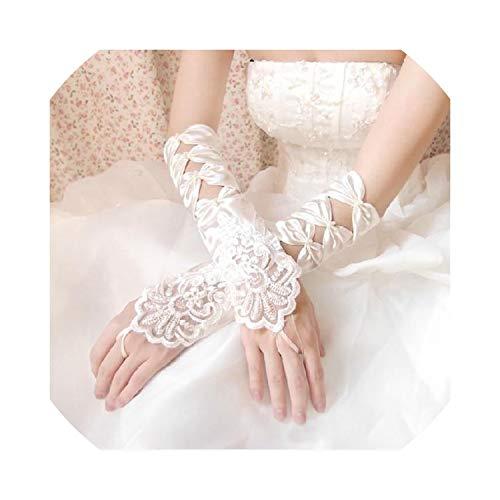 Cheap White Ivory Fingerless Wedding Gloves Cheap Sheer Lace Beaded Bridal Gloves,White