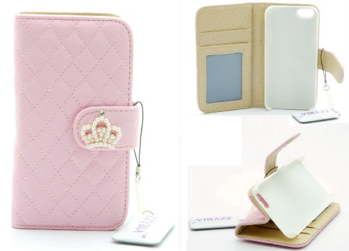 ZZYBIA® IP5 QC Leatherette Stand Case Card Holder Wallet with Screen Cleaning Pad for Apple Iphone 5 5s (Pink)