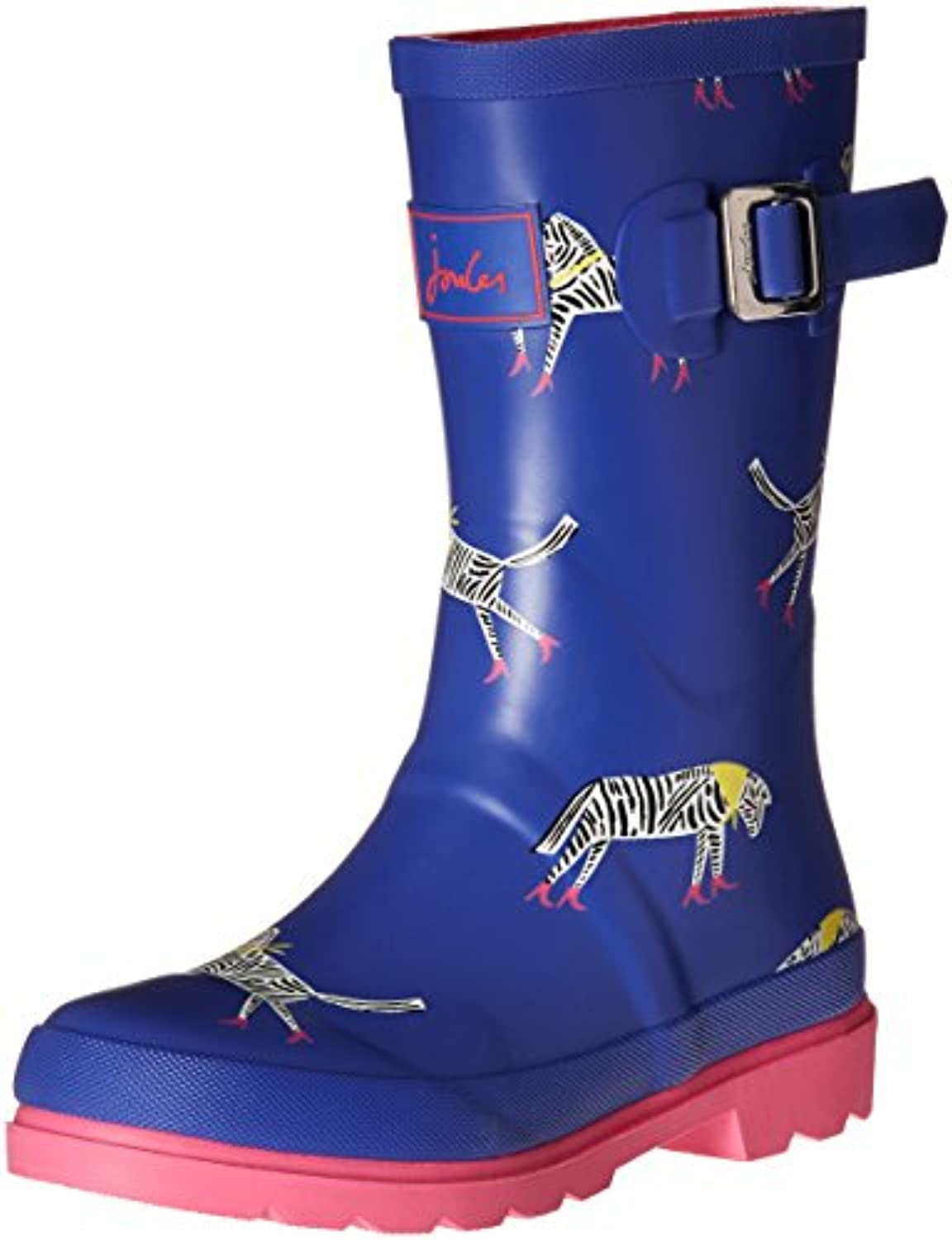 Joules Girls' V_Jnrgirlswly Rain Boots, Blue (Blzigzg), 8 Child UK 25 EU