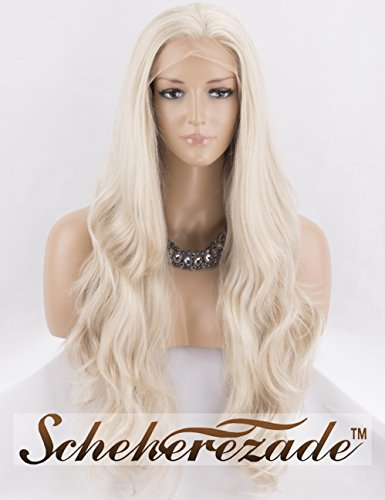 (Scheherezade Blonde Lace Front Wig Free Part Wavy Blonde Wig Glueless Synthetic Wig Blonde Long 22 Inches)