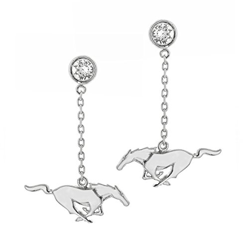 Women s Ford Mustang Pony Rhodium Plated Brass Earrings, Crystals From Swarovski