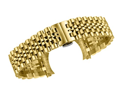 - 22mm Luxury Solid Stainless Steel Watch Wristband Bracelets in Gold Curved&Straight Ends Jubilee Style