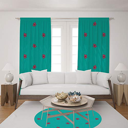 2 Panel Set Satin Window Drapes Living Room Curtains and Round Rug 35.4 inches,Pattern on Teal Background Flora Theme Nature,The perfect combination of curtains and Round Rug makes your living - Teal 98 Inch Curtains