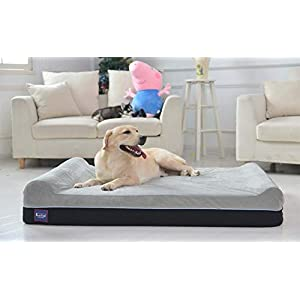Laifug Orthopedic Memory Foam Extra Large Dog Bed Pillow(50″x36″x8″, Slate Grey) Durable Water Proof Liner & Removable Washable Cover & Smart Design