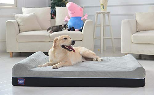 Laifug Orthopedic Memory Foam Extra Large Dog Bed Pillow(50'x36'x8', Slate Grey) Durable Water Proof Liner & Removable Washable Cover & Smart Design