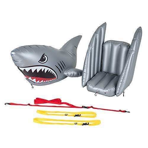 Flotadores de pie inflables tiburón de Juguete y Asiento se acopla fácilmente a Cualquier Tabla de Surf de Remo con arnés Universal extraíble, Gris, Grande, por