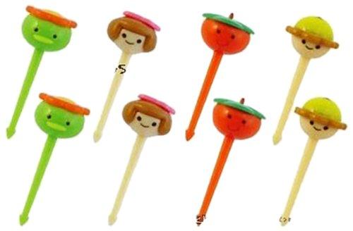 CuteZCute Bento 3D Food Pick, 8-Piece, Cute Round Face