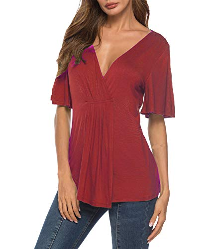 Eanklosco V Neck Shirts Womens Sexy Short Sleeve Cold Shoulder Tops Unique Ruffle Front Side Slit T Shirts (M, Wine - Ruched Top Jersey V-neck