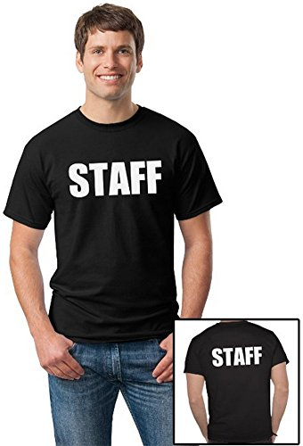 STAFF | Black Two Sided Print - Event, Concert, Party, Festival Unisex T-shirt-Adult,XL