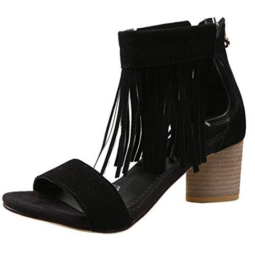 5946f9681d AIYOUMEI Damen Wildleder Blockabsatz Sandalen mit 6cm Absatz und Fransen Chunky  Heel Pumps Schuhe Schwarz