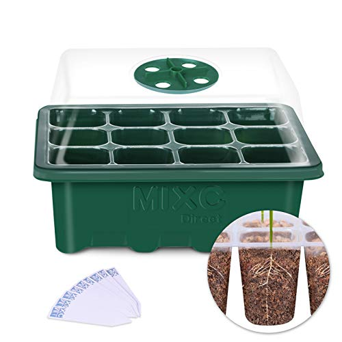 10-Pack Seed Trays Seedling Starter Tray, MIXC Humidity Adjustable Plant Starter Kit with Dome and Base Greenhouse Grow Trays Mini Propagator for Seeds Growing Starting (12 Cells per - Trays Seed Plastic