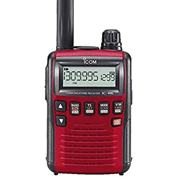 Icom R6 Sport Wide Band Handheld Communications Receiver, Requires 2 x AA  Batteries, Red