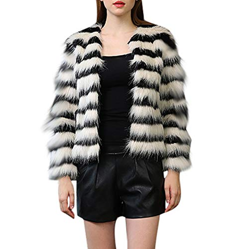 Kangma Women Winter Warm Thick Coat Overout Jacket Faux Fur Parka Outwear Cardigan -