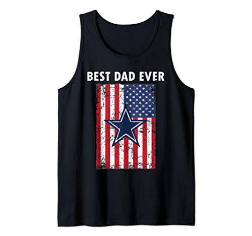 - Best Dad Father's day Gift Cowboy Flag football Dallas Fans Tank Top
