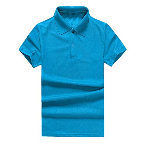 Men's Classic Fit Short Sleeve Solid Soft Cotton Polo Shirt Sky Blue