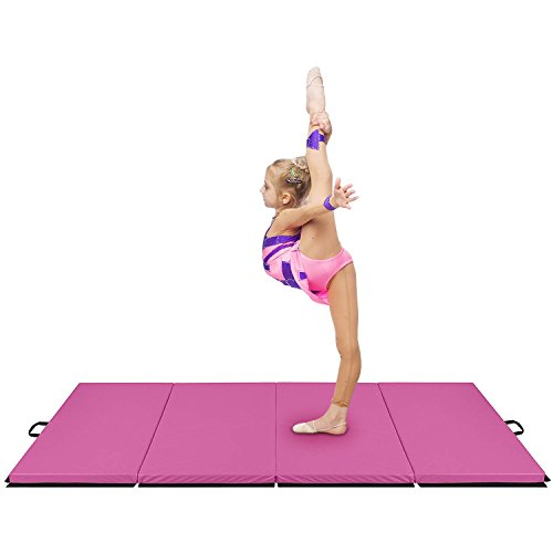 "I-Choice 4'x10'x2"" Thick Gymnastics Mat Folding PU Leather Sports Exercise Aerobics Mats for Home Indoor & Outdoor Use, Portable Gym Fitness Pad & Stretching Yoga Pilates Mats, Pink by I-Choice"
