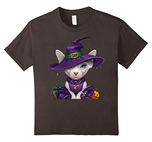 Kids Sphynx Cat Witch Halloween T-Shirt 4 Asphalt - Sphynx Cats In Costumes