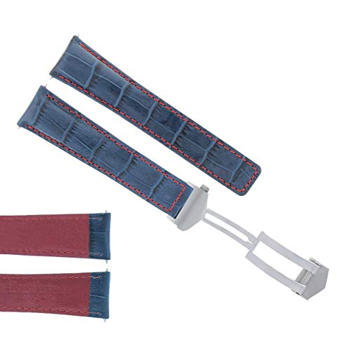 - 22MM Monaco Leather Watch Band Strap Deployment Clasp for TAG HEUER Blue RED 3TC