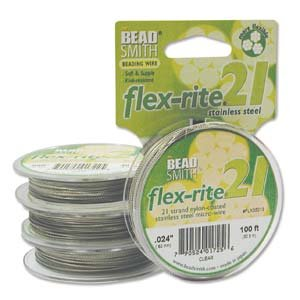 21 Strand Clear Coated Flex Rite Beading Stringing Wire .024 Inch 100 Feet Nylon Coated 29 Lb Break