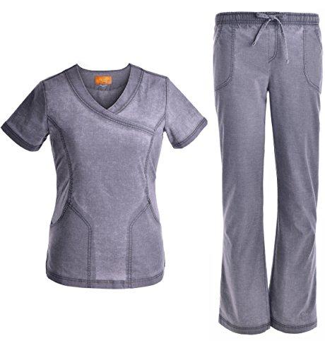 Mock Wrap Neck Stretch Scrubs Set - Women Scrub Top Soft Medical Uniforms Nursing Scrubs Top and Pants Jeanish Washed JS1608 (Pewter, XL)
