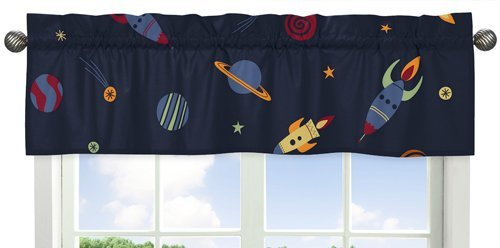 Galactic Planets Rocket Ship Window Treatment Valance for Space Galaxy Bedding Collection