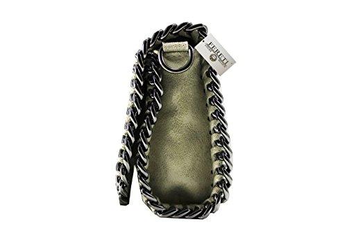 FERETI Damen Beige Leder Clutch hellbeige Tasche hellbraun umhangetasche Abendtasche Schultertasche mit Kette