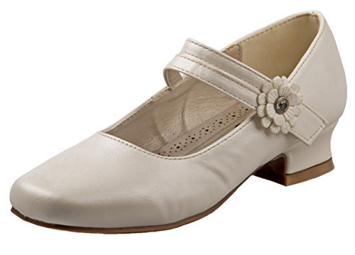 Josmo Girl's Dressy Patent Low Heel Shoe with Glitter and Stone Buckle, Beige Pearl, 4 M US Big Kid'