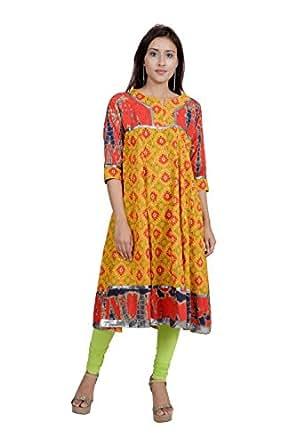 Rama Women's Cotton Orange and Red Anarkali Kurta