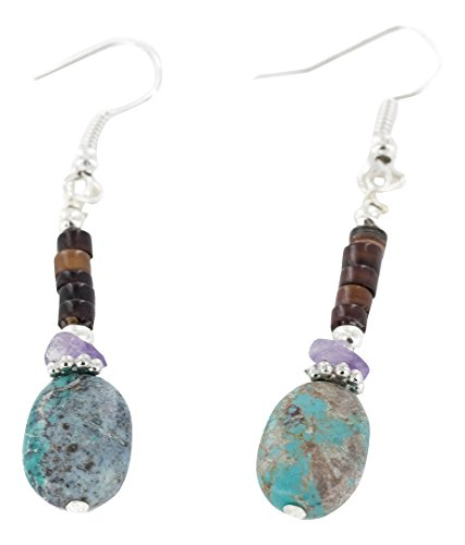 Native-Bay Authentic Made by Charlene Little Navajo Silver Hooks Dangle Natural Amethyst Turquoise American Earrings